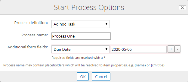 Start Process Options fields